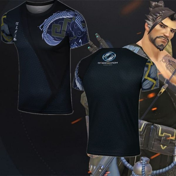 Overwatch Hanzo Costume T-Shirt with One Sleeve 1