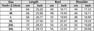 GoT t-shirt size chart