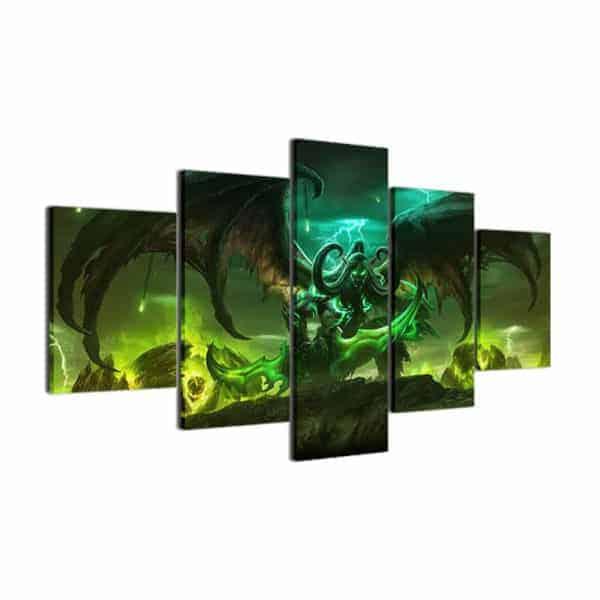 World of Warcraft Wall 5-piece Canvas Illidan