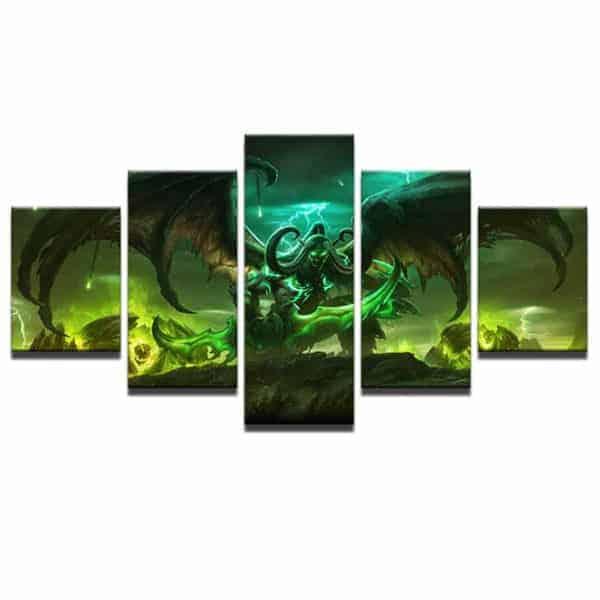 Warcraft Wall 5-piece Canvas Illidan